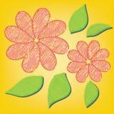 Αφηρημένο ζωηρόχρωμο λουλούδι στο κίτρινο υπόβαθρο Στοκ Εικόνες