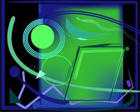 Αφηρημένο ζωηρόχρωμο πράσινο υπόβαθρο με τις φανταχτερές μπλε μορφές Στοκ Εικόνα