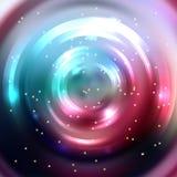 Αφηρημένο ζωηρόχρωμο υπόβαθρο, λάμποντας σήραγγα κύκλων Κομψός νεαρός δικυκλιστής Στοκ Εικόνα