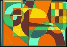 Αφηρημένο ζωηρόχρωμο υπόβαθρο, γεωμετρικές μορφές, πράσινο πορτοκάλι Στοκ εικόνα με δικαίωμα ελεύθερης χρήσης