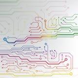 Αφηρημένο ζωηρόχρωμο υπόβαθρο πινάκων κυκλωμάτων. ευθυγραμμισμένη κύκλωμα απεικόνιση σχεδίων Στοκ Φωτογραφίες