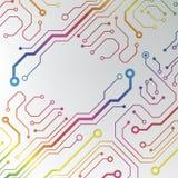 Αφηρημένο ζωηρόχρωμο υπόβαθρο πινάκων κυκλωμάτων. ευθυγραμμισμένη κύκλωμα απεικόνιση σχεδίων Στοκ φωτογραφίες με δικαίωμα ελεύθερης χρήσης