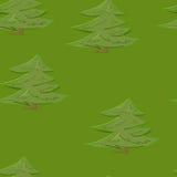 Αφηρημένο ζωηρόχρωμο υπόβαθρο σχεδίων δέντρων δασικό άνευ ραφής στο ύφος κινούμενων σχεδίων Στοκ Εικόνες