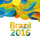 Αφηρημένο ζωηρόχρωμο υπόβαθρο του Ρίο 2016 Στοκ εικόνα με δικαίωμα ελεύθερης χρήσης