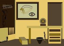 Αφηρημένο ζωηρόχρωμο υπόβαθρο, υπερφυσικό δωμάτιο με το γραφείο Στοκ Εικόνες