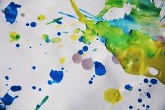 Αφηρημένο ζωηρόχρωμο υπόβαθρο, watercolor χρωμάτων και κέρινα σημεία Στοκ εικόνα με δικαίωμα ελεύθερης χρήσης