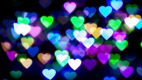 Αφηρημένο ζωηρόχρωμο φως καρδιών bokeh απόθεμα βίντεο