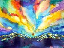 Αφηρημένο ζωηρόχρωμο backgroud χρώματος ζωγραφικής watercolor ουρανού βουνών Στοκ Φωτογραφία