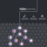 Αφηρημένο δημιουργικό διανυσματικό hexagon δίκτυο έννοιας με το εικονίδιο που απομονώνεται στο υπόβαθρο για τον Ιστό, κινητό App  Στοκ Εικόνα
