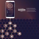 Αφηρημένο δημιουργικό διανυσματικό hexagon δίκτυο έννοιας με το εικονίδιο που απομονώνεται στο υπόβαθρο για τον Ιστό, κινητό App  Στοκ Εικόνες