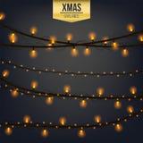 Αφηρημένο δημιουργικό φως γιρλαντών Χριστουγέννων που απομονώνεται στο υπόβαθρο Πρότυπο Διανυσματική τέχνη απεικόνισης clipart γι Στοκ Φωτογραφία
