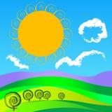 Αφηρημένο θερινό τοπίο διανυσματική απεικόνιση