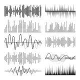 Αφηρημένο διάνυσμα σφυγμού υγιών κυμάτων μουσικής Ακουστικός μουσικός σφυγμός τεχνολογίας ή υγιή διαγράμματα Υγιή κύματα παιχνιδι Στοκ εικόνες με δικαίωμα ελεύθερης χρήσης