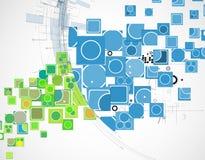Αφηρημένο διάνυσμα τεχνολογίας υπολογιστών καινοτομίας κύβων χρώματος backg Στοκ Εικόνα