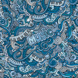 Αφηρημένο διακοσμητικό άνευ ραφής σχέδιο μουσικής doodles Στοκ Φωτογραφίες