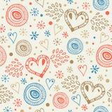 Αφηρημένο διακοσμητικό άνευ ραφής υπόβαθρο με το ατελείωτο σχέδιο doodle καρδιών μυγών Στοκ φωτογραφία με δικαίωμα ελεύθερης χρήσης