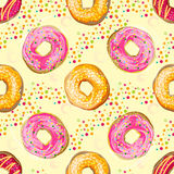Αφηρημένο διανυσματικό άνευ ραφής σχέδιο με τα ζωηρόχρωμα donuts απεικόνιση αποθεμάτων