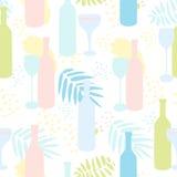 Αφηρημένο διανυσματικό άνευ ραφής σχέδιο με τα μπουκάλια και τα γυαλιά κρασιού Στοκ φωτογραφίες με δικαίωμα ελεύθερης χρήσης