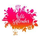 Αφηρημένο διανυσματικό έμβλημα φυλλώματος φθινοπώρου Τυπογραφικό σχέδιο ευχετήριων καρτών Γειά σου Σεπτέμβριος διανυσματική απεικόνιση