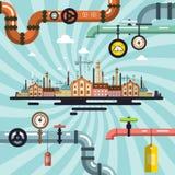Αφηρημένο διανυσματικό αναδρομικό παλαιό εργοστάσιο Στοκ εικόνα με δικαίωμα ελεύθερης χρήσης