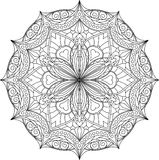 Αφηρημένο διανυσματικό μαύρο στρογγυλό, εξαγωνικό σχέδιο δαντελλών στη μονο γραμμή Στοκ Εικόνες