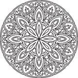 Αφηρημένο διανυσματικό μαύρο στρογγυλό σχέδιο δαντελλών στο μονο ύφος γραμμών - άτομο Στοκ Εικόνες