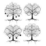 Αφηρημένο διανυσματικό μαύρο σύνολο απεικόνισης δέντρων Στοκ Εικόνα