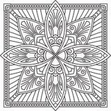 Αφηρημένο διανυσματικό μαύρο τετραγωνικό σχέδιο δαντελλών στο μονο ύφος γραμμών - μΑ Στοκ Φωτογραφία