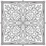 Αφηρημένο διανυσματικό μαύρο τετραγωνικό σχέδιο δαντελλών στο μονο ύφος γραμμών - μΑ Στοκ Φωτογραφίες