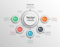 Αφηρημένο διανυσματικό πρότυπο επιλογών αριθμού infographics με 5 βήματα Μπορέστε να χρησιμοποιηθείτε για το σχεδιάγραμμα ροής τη Στοκ Εικόνες