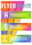 Αφηρημένο διανυσματικό πρότυπο σχεδίου ιπτάμενων φυλλάδιων τριγώνων ζωηρόχρωμο A4 στο μέγεθος Στοκ Εικόνες