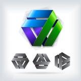 Αφηρημένο διανυσματικό πρότυπο δύο λογότυπων τρίγωνο Στοκ Εικόνες