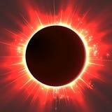 Αφηρημένο διανυσματικό σκοτεινό υπόβαθρο με τον πλανήτη και την έκλειψη του αστεριού του Το φωτεινό κόκκινο φως αστεριών λάμπει α ελεύθερη απεικόνιση δικαιώματος
