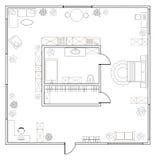 Αφηρημένο διανυσματικό σχέδιο του one-bedroom διαμερίσματος στούντιο Στοκ Εικόνες