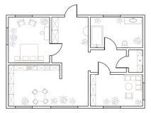 Αφηρημένο διανυσματικό σχέδιο του one-bedroom διαμερίσματος Στοκ Εικόνες
