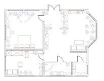 Αφηρημένο διανυσματικό σχέδιο του one-bedroom διαμερίσματος Στοκ εικόνες με δικαίωμα ελεύθερης χρήσης