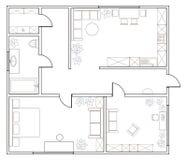 Αφηρημένο διανυσματικό σχέδιο του one-bedroom διαμερίσματος Στοκ Εικόνα