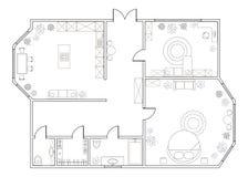 Αφηρημένο διανυσματικό σχέδιο του one-bedroom διαμερίσματος Στοκ Φωτογραφία