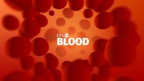 Αφηρημένο διανυσματικό υπόβαθρο αίματος Απεικόνιση επιστήμης Άποψη μικροσκοπίων Ρεύμα κυττάρων απεικόνιση αποθεμάτων