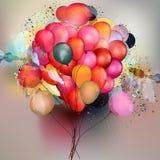Αφηρημένο διανυσματικό υπόβαθρο με τα μπαλόνια και χρωματισμένα τα μελάνι σημεία Στοκ Εικόνες