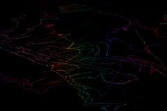 Αφηρημένο διανυσματικό υπόβαθρο με τις φωτεινές στριμμένες ουράνιο τόξο γραμμές Στοκ εικόνα με δικαίωμα ελεύθερης χρήσης