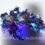 Αφηρημένο διανυσματικό υπόβαθρο με χρωματισμένα τα μελάνι σημεία και την μπλε χλωρίδα Στοκ Φωτογραφία