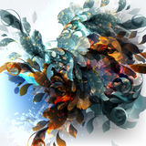 Αφηρημένο διανυσματικό υπόβαθρο με χρωματισμένα τα μελάνι σημεία και floral U Στοκ Εικόνα