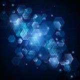 Αφηρημένο διανυσματικό υπόβαθρο με hexagons Σχέδιο τεχνολογίας Στοκ εικόνες με δικαίωμα ελεύθερης χρήσης
