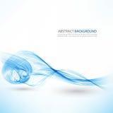 Αφηρημένο διανυσματικό υπόβαθρο, μπλε διαφανείς κυματισμένες γραμμές για το φυλλάδιο, ιστοχώρος, σχέδιο ιπτάμενων μπλε κύμα καπνο απεικόνιση αποθεμάτων