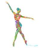 Αφηρημένο διανυσματικό χορεύοντας κορίτσι σκιαγραφιών Στοκ εικόνα με δικαίωμα ελεύθερης χρήσης