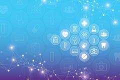 Αφηρημένο ιατρικό υπόβαθρο με τα εικονίδια υγειονομικής περίθαλψης Σχέδιο έννοιας τεχνολογίας καινοτομίας, επιστημονική διανυσματ Στοκ Φωτογραφίες