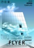 Αφηρημένο ιπτάμενο με το υπόβαθρο των κτηρίων και των σύννεφων διανυσματική απεικόνιση