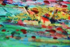 Αφηρημένο κέρινο υπόβαθρο ζωγραφικής στα πράσινα κίτρινα χρώματα Στοκ Εικόνες