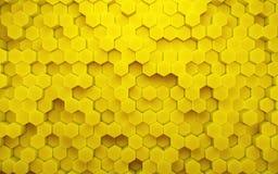 Αφηρημένο κίτρινο κυψελωτό γεωμετρικό σχέδιο τρισδιάστατη απόδοση διανυσματική απεικόνιση